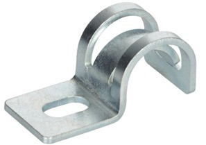 """Mighty-Hold® Universal Steel One Hole Strap. Accommodates sizes 14/2 to 10/3 AC/MC/MCIA in Steel and Aluminum. FMC Steel and Aluminum in 3/8"""" trade size.-0"""