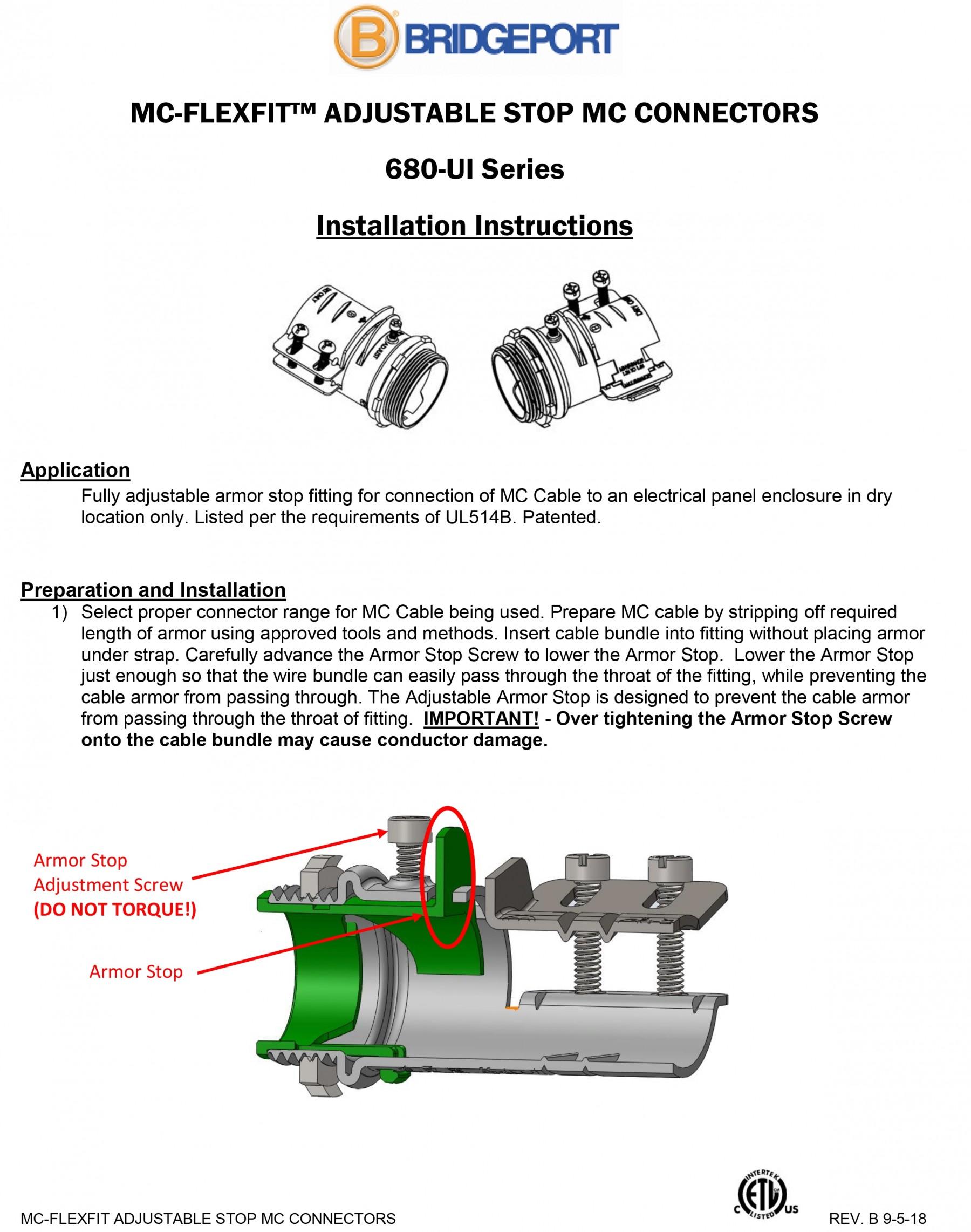 Connector, MC-FLEXFIT™, Adjustable Endstop, MC Feeder Cable, Two Screw-5