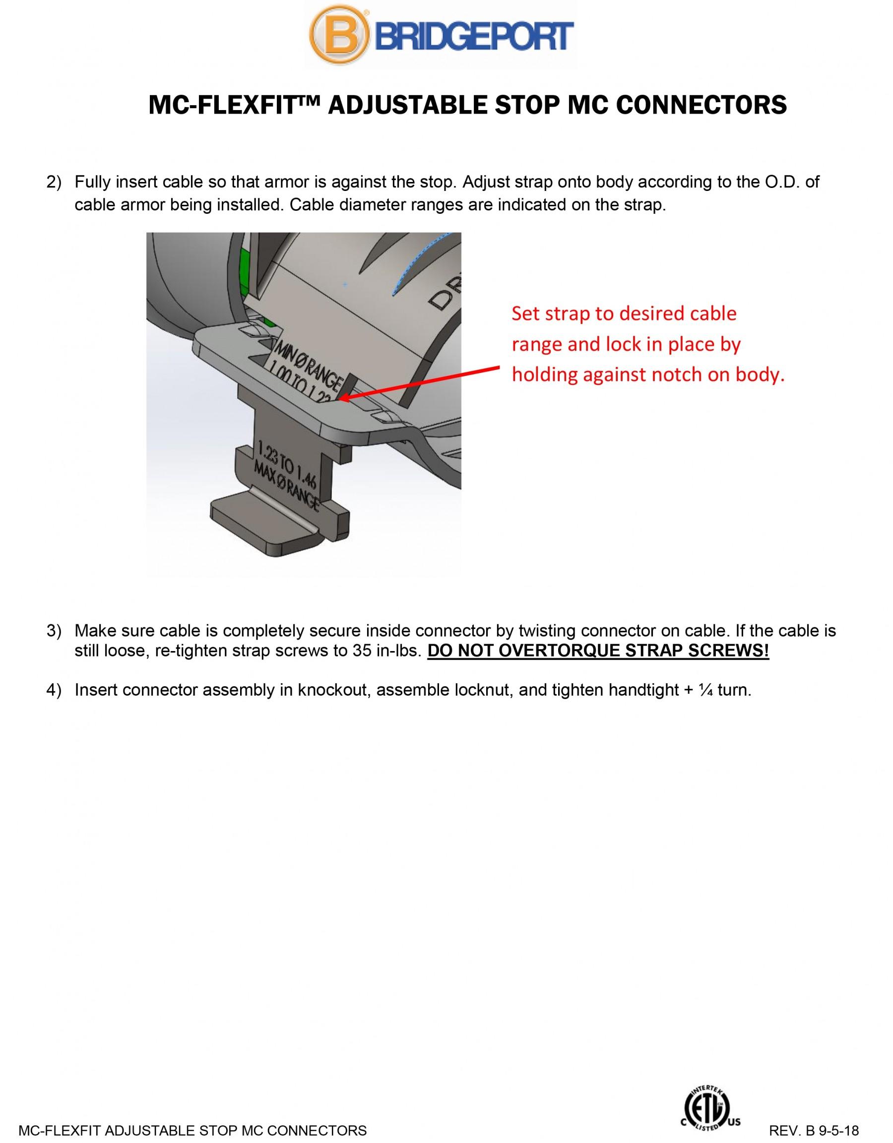 Connector, Adjustable Endstop, MC Feeder Cable, Two Screw, Steel, 1-1/2 Inch-6