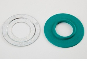 """Mighty-Seal® 1"""" to 3/4"""" Raintight Reducing Washers. Product contains one coated and one uncoated galvanized steel reducing washer. Maintains Raceway Integrity. Sunlight Resistant. Suitable for Wet Locatons."""