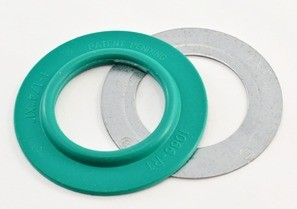 "Mighty-Seal® 1-1/4"" to 1"" Raintight Reducing Washers. Product contains one coated and one uncoated galvanized steel reducing washer. Maintains Raceway Integrity. Sunlight Resistant. Suitable for use in Wet Locations."