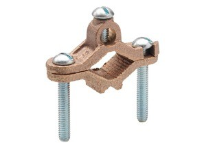 Ground Clamp, Bare, Brass, Ground Pipe Grounding Electrode Size 1/2 - 1 Inch