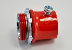 "1"" Fire Alarm EMT connector, steel."