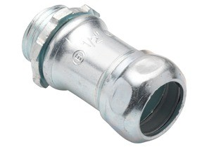 Connector, Compression, Steel, Size 1/2 Inch