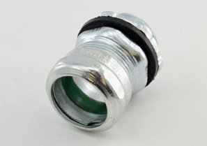 """Raintight Connector, Compression, Steel, Insulated Throat - 105°C, Size 3/4"""""""