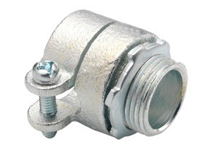 Connector, Squeeze, Malleable Iron, Trade Size 3/8 Inch