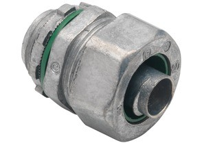 Connector, Liquid Tight, Zinc Die Cast, Insulated Throat, Size 3/8 Inch