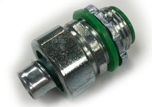 Connector, Liquid Tight, Straight, Steel, Insulated Throat, Size 3/8 Inch