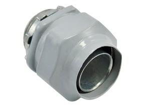 Connector, Liquid Tight, Direct Burial Rated, Zinc Die Cast, Polyolefin Coated, Size 3/4 Inch