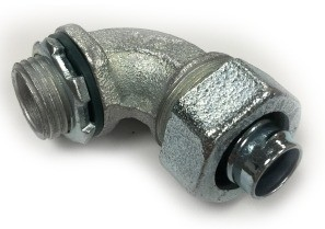 Connector, Liquid Tight, 90 Degree, Size 3/8 Inch