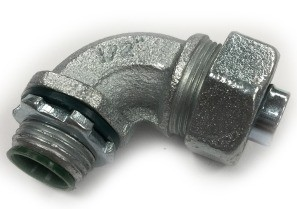 Connector, Liquid Tight, 90 Degree, Steel, Insulated Throat, Size 3/8 Inch