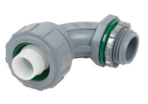 Connector, Liquid Tight, 90 Degree Non-Metallic, Size 1 1/4 Inch