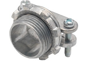Connector, Strap, Two Screw, Zinc Die Cast, Round Cable, Size K.O. 1 1/2 Inch.