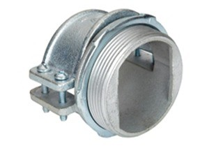 Connector, Strap, Four Screw, Malleable Iron, Size K.O. 1-1/2 Inch