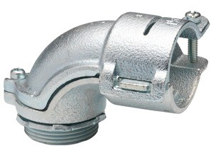 Connector, 90 Degrees, Malleable Iron, Insulated Throat, Size K.O. 1 1/2 Inch