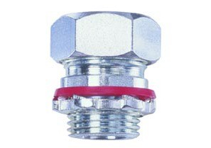 "Connector, cord grip, straight, aluminum, k.o. size 3/4"", cord range .350-.450"