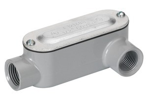 Rigid and IMC Conduit Body, Type LL, Aluminum, Cover and Gasket, Size 1/2 Inch