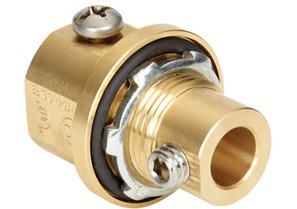 """3/4"""" Brass Alloy grounding fitting with stainless steel set screws and steel locknut Buna N sealing ring.  NPT threads"""