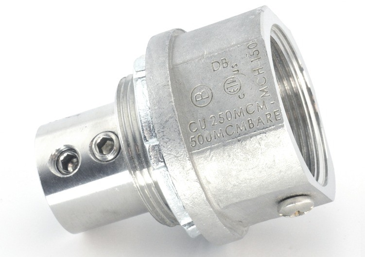 """1 1/2"""" Stainless Steel Alloy grounding fitting with stainless steel set screws and Stainless steel locknut Buna N sealing ring.  NPT threads"""