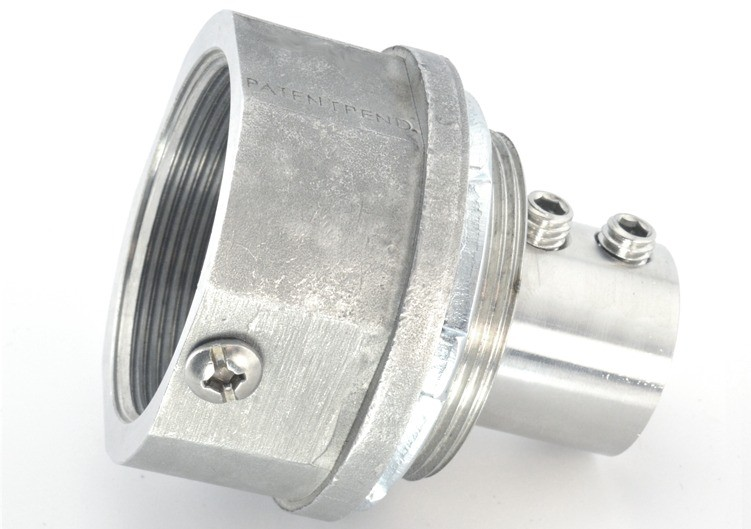 """2"""" Stainless Steel Alloy grounding fitting with stainless steel set screws and Stainless steel locknut Buna N sealing ring.  NPT threads"""
