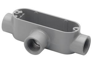 Rigid and IMC Conduit Body, Type T, Aluminum, Size 3/4 Inch