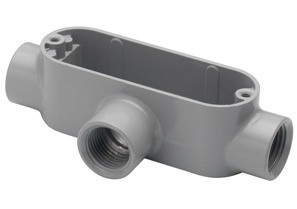 Rigid and IMC Conduit Body, Type T, Aluminum, Size 1 1/4 Inch