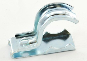 "One piece clamp back and strap combination, 1 hole, Steel, 3/4"" - 1"" Trade Size. Patented."