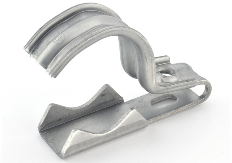 "One piece clamp back and strap combination, 1 hole, Stainless Steel, 1-1/4"" - 1-1/2"" Trade Size. Patented."