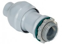 Direct burial rated Mighty-Seal® jacketed MC cable connector. Polyolefin coated zinc body. Concrete tight, raintight and listed for direct burial.