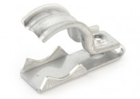 "One piece clamp back and strap combination, 1 hole, Stainless Steel, 1/2"" - 3/4"" Trade Size. Patented."
