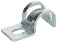 """Mighty-Hold® Universal Steel One Hole Strap. Accommodates sizes 14/2 to 10/3 AC/MC/MCIA in Steel and Aluminum. FMC Steel and Aluminum in 3/8"""" trade size."""