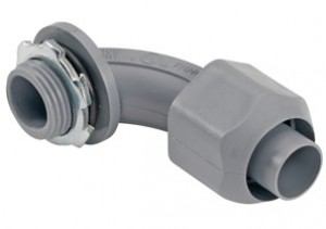 Nonmetallic screw-on 90 degree connector