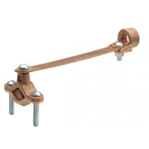 Clamp, Brass Ground, Strap and Hub, Brass, Steel Screw