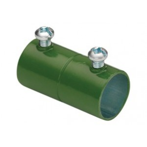 EMT Couplings, Color-Coded, Steel, Green