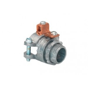 Zinc Die Cast Alloy Squeeze connector and locknut with external copper grounding lug. For: AC/HCF/FMC