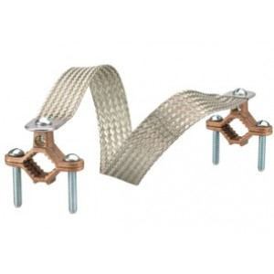 Copper clamps. Braid equivalent to 4 GA